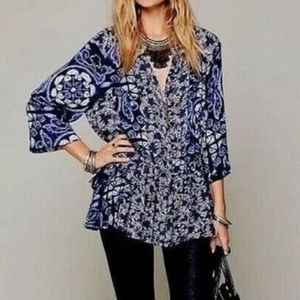 Free People Tie Dye Floral Boho Tunic Top size L